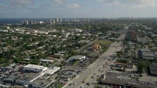 AX0032_002 - 5K stock footage aerial video of North Federal Highway, Pompano Beach, Florida
