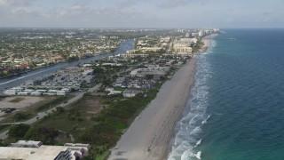 AX0032_014 - 5K stock footage aerial video fly by coastal condominiums, apartment buildings, Hillsboro Beach, Florida