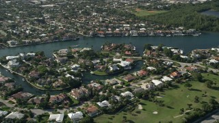 AX0032_026 - 5K stock footage aerial video of an upscale residential neighborhood, Boca Raton, Florida