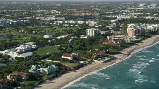 AX0032_048 - 5K stock footage aerial video of flying by mansions on the coast, Gulf Stream, Florida
