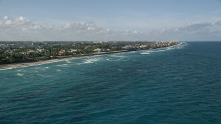 AX0032_057 - 5K stock footage aerial video of flying by coastal mansions, Manalapan, Florida