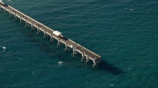 AX0032_064 - 5K stock footage aerial video of orbiting the Lake Worth Pier, Palm Beach, Florida