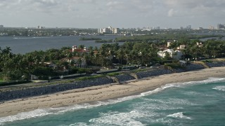 AX0032_071 - 5K stock footage aerial video flyby coastal mansions, Palm Beach, Florida