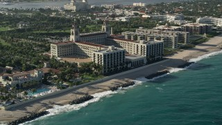 AX0032_080 - 5K stock footage aerial video of approaching The Breakers Palm Beach hotel in Palm Beach, Florida
