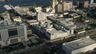 AX0032_086 - 5K stock footage aerial video of flying by the West Palm Beach Public Library, West Palm Beach, Florida