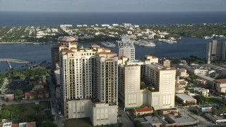 AX0032_088 - 5K stock footage aerial video of flying by apartment buildings, West Palm Beach, Florida