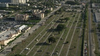 AX0032_089 - 5K stock footage aerial video of approaching Woodlawn Cemetery, West Palm Beach, Florida