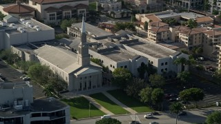 AX0032_092 - 5K stock footage aerial video of flying by the First Baptist Church Palm Beach, West Palm Beach, Florida