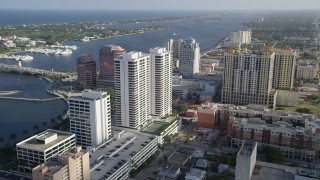AX0032_096 - 5K stock footage aerial video of approaching Trump Plaza, West Palm Beach, Florida