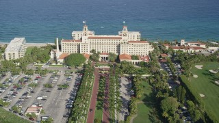 AX0032_102 - 5K stock footage aerial video of Breakers Ocean Golf Course, The Breakers Palm Beach, Palm Beach, Florida