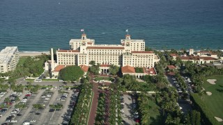 AX0032_102E - 5K stock footage aerial video of Breakers Ocean Golf Course, The Breakers Palm Beach, Palm Beach, Florida