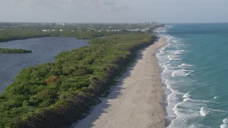 AX0032_121 - 5K stock footage aerial video of flying over beach, John D. MacArthur Beach State Park, Riviera Beach, Florida