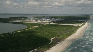 AX0033_019 - 5K stock footage aerial video of approaching St. Lucie Nuclear Power Plant, Florida