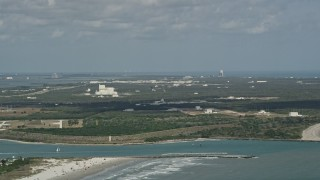 AX0034_013 - 5K stock footage aerial video of approaching Cape Canaveral, Florida