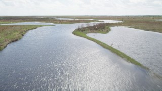 AX0034_045 - 5K stock footage aerial video of flying over marshland and river toward a flock of birds, Cocoa, Florida