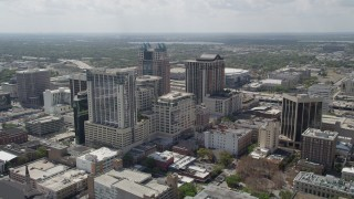 AX0034_088 - 5K stock footage aerial video of flying over Downtown and approaching SunTrust Center, Downtown Orlando, Florida