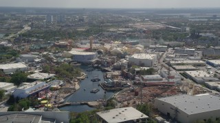 AX0035_015 - 5K stock footage aerial video of Universal Studios Florida rides, Orlando, Florida
