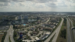 AX0035_023 - 5K stock footage aerial video of the Wet 'n Wild water park, Orlando, Florida