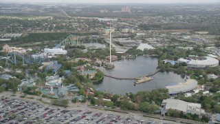AX0035_029 - 5K stock footage aerial video of flying by Seaworld Orlando, Florida