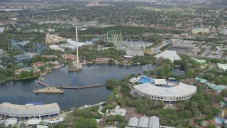 AX0035_030 - 5K stock footage aerial video of Seaworld Orlando, Florida