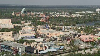 AX0035_038 - 5K aerial stock footage video of Hollywood Studios and Walt Disney World Dolphin hotel, Orlando, Florida