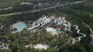AX0035_040 - 5K stock footage aerial video of orbiting Blizzard Beach water park at Walt Disney World, Orlando, Florida