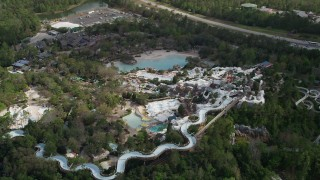 AX0035_041 - 5K stock footage aerial video of circling Blizzard Beach water park, Walt Disney World, Orlando, Florida