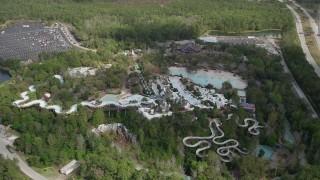 AX0035_042 - 5K stock footage aerial video of an orbit of Blizzard Beach water park, Walt Disney World, Orlando, Florida