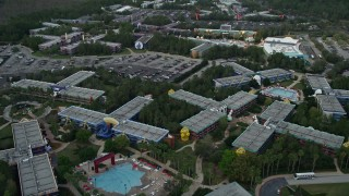 AX0035_045 - 5K stock footage aerial video flyby Disney's All-Star Sports Resort at Walt Disney World, Orlando, Florida