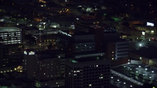 AX0156_019 - 8K stock footage aerial video of a close-up view of Children's Hospital Los Angeles in Hollywood, California