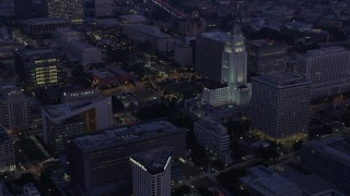 AX0156_046 - 8K stock footage aerial video of City Hall and city government buildings in Downtown Los Angeles at sunrise, California