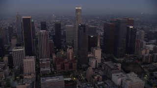 AX0156_067 - 8K stock footage aerial video of the towering skyscrapers of Downtown Los Angeles, California early in the morning