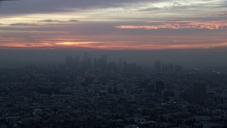AX0156_081 - 8K stock footage aerial video of the Downtown Los Angeles, California skyline on a hazy morning