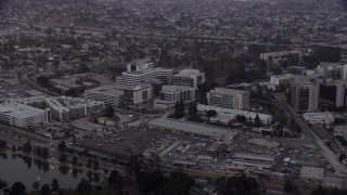 AX0156_096 - 8K stock footage aerial video of Keck Hospital of University of Southern California in Boyle Heights, Los Angeles, California at sunrise