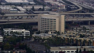 AX0156_199 - 8K stock footage aerial video of Airport Branch Courthouse in Hawthorne, California
