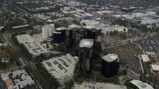 AX0157_024 - 8K stock footage aerial video of Warner Center office buildings in Woodland Hills, California