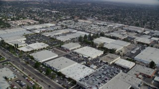 AX0157_057 - 8K stock footage aerial video of an industrial area in Chatsworth, California
