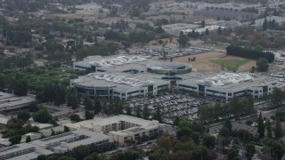 AX0157_071 - 8K stock footage aerial video Medtronic office building in Northridge, California