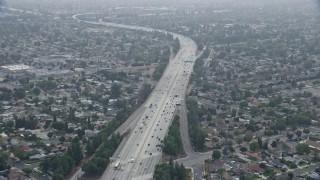 AX0157_074 - 8K stock footage aerial video of light traffic on the 118 Freeway in Granada Hills, California