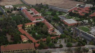 AX0157_083 - 8K stock footage aerial video of Bishop Alemany High School, Mission Hills, California