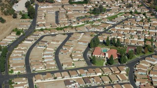 AX0159_007 - 8K stock footage aerial video of a manufactured Home Community, Sylmar, San Fernando Valley, California