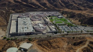 AX0159_044 - 8K stock footage aerial video of the supermax facility at a prison, Valencia, California