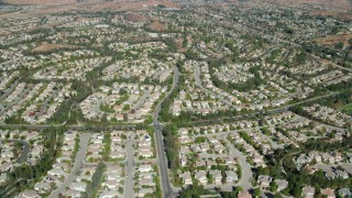 AX0159_047 - 8K stock footage aerial video of tract homes, Valencia, California