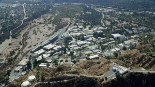 AX0159_067 - 8K stock footage aerial video approaching Jet Propulsion Laboratory campus, Pasadena, California