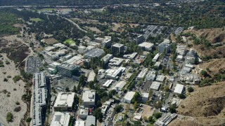 AX0159_068 - 8K stock footage aerial video orbiting research buildings on the JPL campus, Pasadena, California