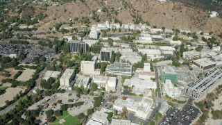 AX0159_070 - 8K stock footage aerial video of reverse orbit of the Jet Propulsion Laboratory campus, Pasadena, California