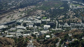 AX0159_075 - 8K stock footage aerial video orbiting the buildings that make up JPL, Pasadena, California