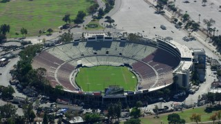 AX0159_088 - 8K stock footage aerial video orbiting Rose Bowl Stadium, Pasadena