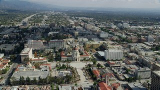 AX0159_106 - 8K stock footage aerial video flying over Pasadena City Hall and office buildings in Pasadena, California