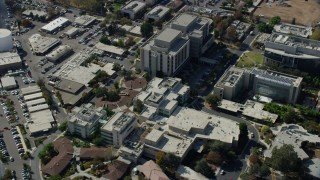 AX0159_124 - 8K stock footage aerial video of the City of Hope Medical Center in Duarte, California